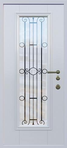Дверь со стеклом и ковкой DR255