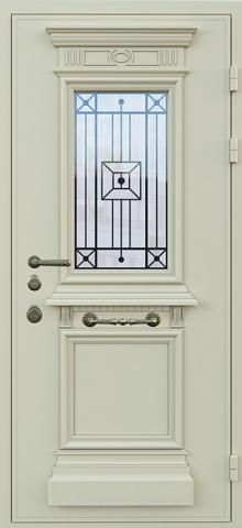 Дверь со стеклом и ковкой DR249